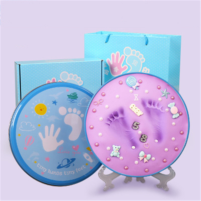Baby Souvenirs Hand & Footprint Makers 3D Soft Clay Newborn Baby Inkless Handprint Footprint Infant Growth Record DIY Gift