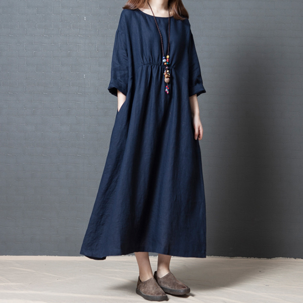 Women Solid Color Dress Long Sleeves Pockets Loose Cotton Simple Casual Dress for Spring -MX8