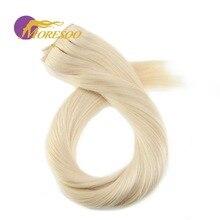 Moresoo, человеческие волосы для наращивания на заколках, натуральные бразильские волосы Remy для наращивания, двойной уток, 3/4, набор на всю голову, 50-70 г