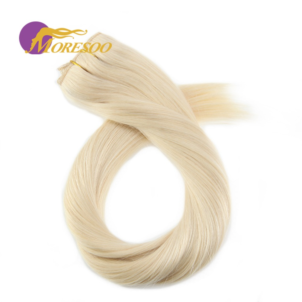 Moresoo Clip In One Piece Human Hair Extensions Real Remy Brazilian Hair Extensions Double Weft 3/4 Full Head Set 50-70Gram