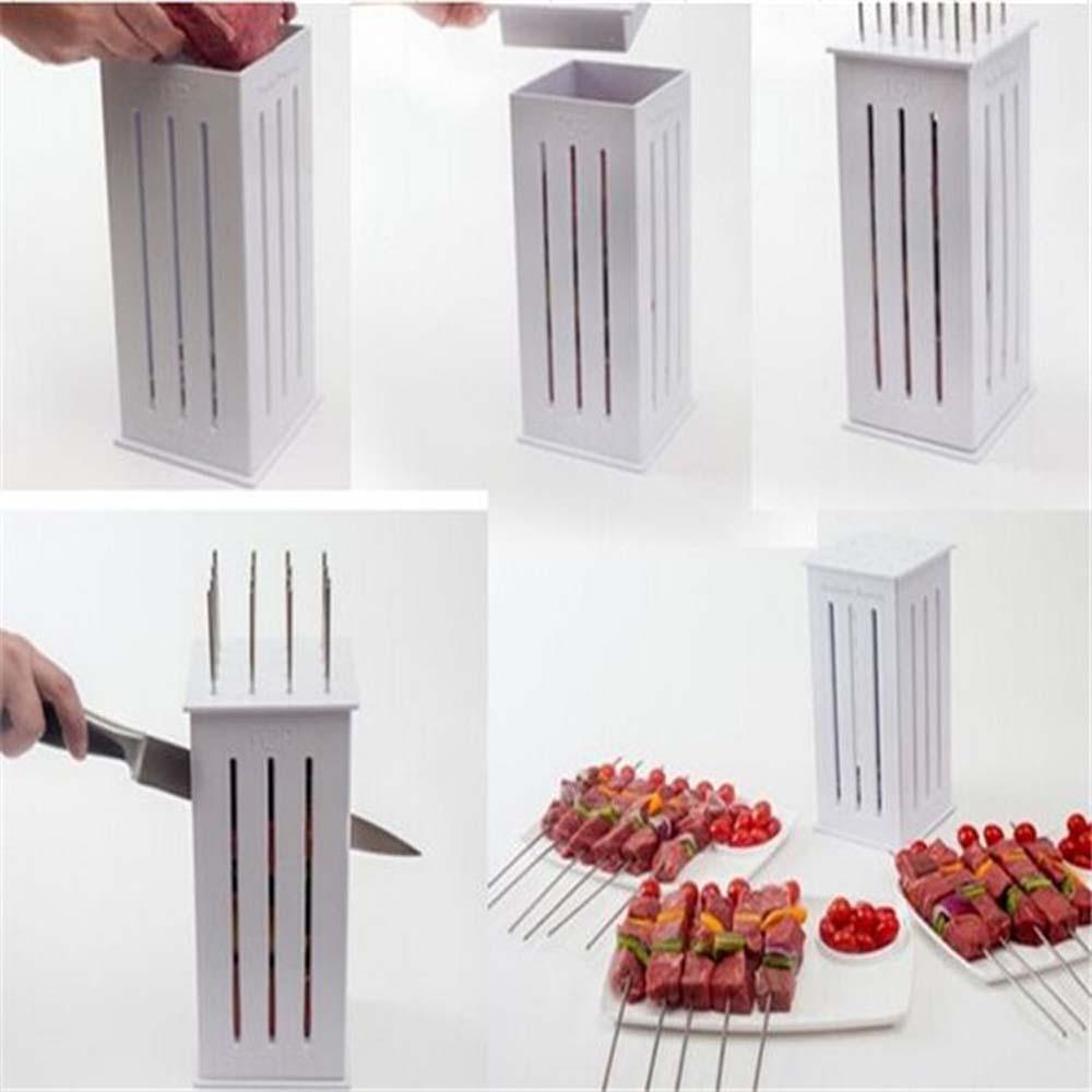 1 pc Brochette Express 32 Bamboo Skewers Food Slicer BBQ Grill Shish Kebab Maker Kit H4217