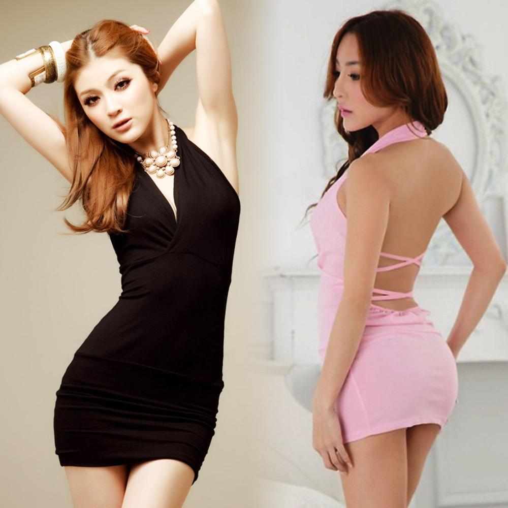 Hot Women Sexy Lingerie Sheath Party Dress Backless Casual Nightwear Sexy Underwear Mini Dance Dress Female GC106