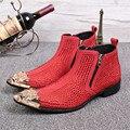 Manera de Los Hombres Rojos Botines Punta estrecha Rhinestone Decoración de La Boda de Cuero Genuino Zapatos de Vestir Botas de Bota Masculina Militar