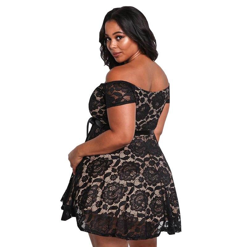 7279dd227ca SEBOWEL 2018 Elegant Plus Size Dress Women XXXL Black Lace Dress Short High  Waist Lace up Tunic Sexy Off Shoulder Party Dress-in Dresses from Women s  ...