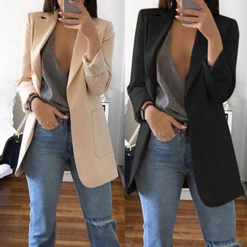 arrival New Women Casual Mid Coat Lapel Slim Cardigan Outdoor office Work Suit   Basic     Jackets   Spring Autumn Ladies Outwear Coat