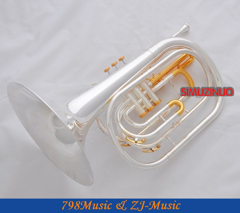 Professional Silver Gold Plated Marching French horn Bb Monel Valves With Case one horn double row 4 key single french horn fb key french horn with case surface gold lacquer professional musical instrument