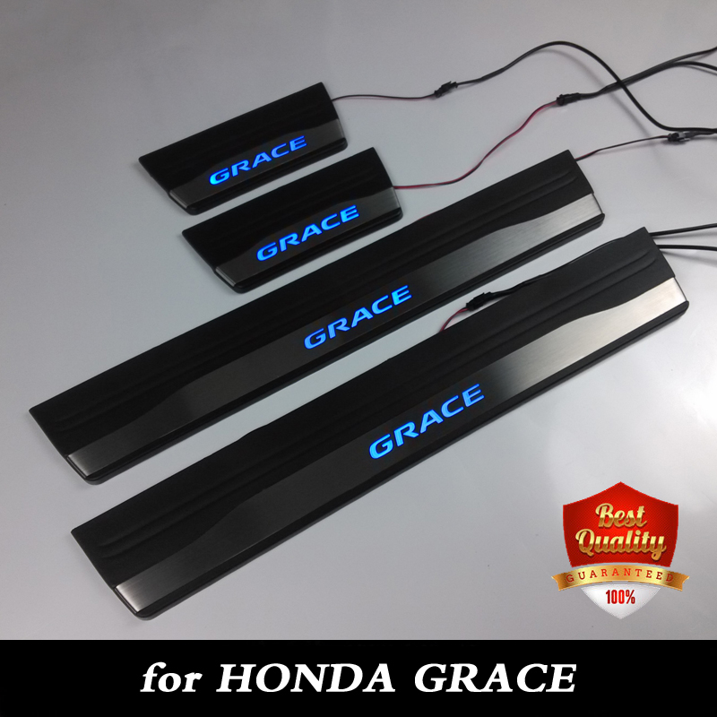 Stainless Steel Blue LED light Door Sill Scuff Plate Door Sill Threshold for GRACE 2015 2016