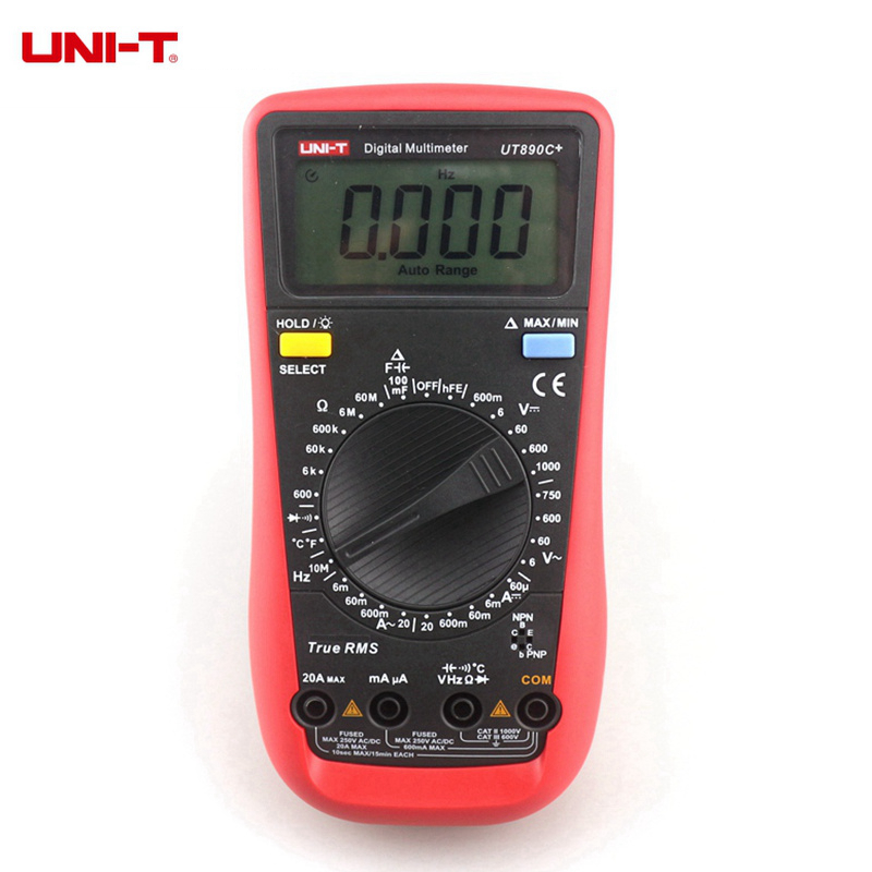 UNI-T UT890C + Vero RMS Multimetro Digitale C/F Temperatura Capacità Frequenza Multimetro Diodo Tester Strumenti di Misura
