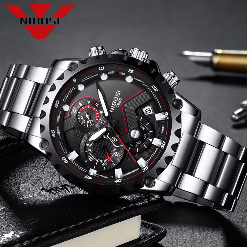 NIBOSI Men Big Dial Sports Watches Top Brand Luxury Outdoor Travel Clock Hour Army Military Waterproof Men's Quartz Wrist Watch weide top brand quartz sports watches men military army black waterproof automatic clock fashion big dial with gift box uv1503