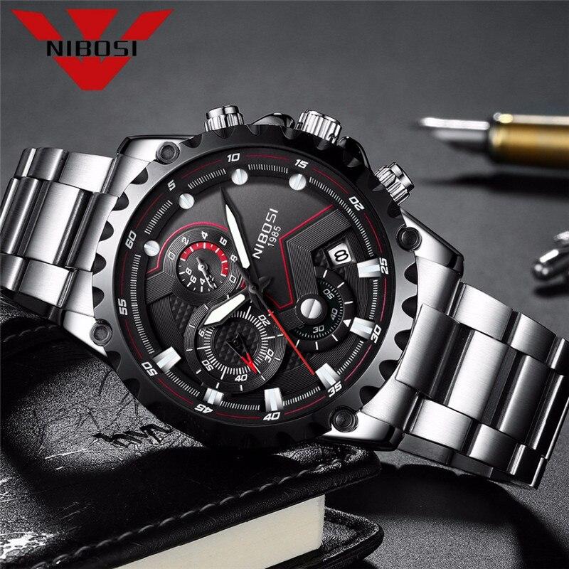 Reloj de pulsera de cuarzo para hombre de marca NIBOSI, reloj de pulsera de cuarzo resistente al agua militar para exteriores