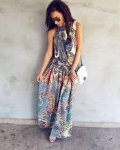 Vintage Floral Split Maxi Dress Ladies Summer Party Beach Wear Boho Dresses Women Classical Short Sleeve halter Long Sundress(China)