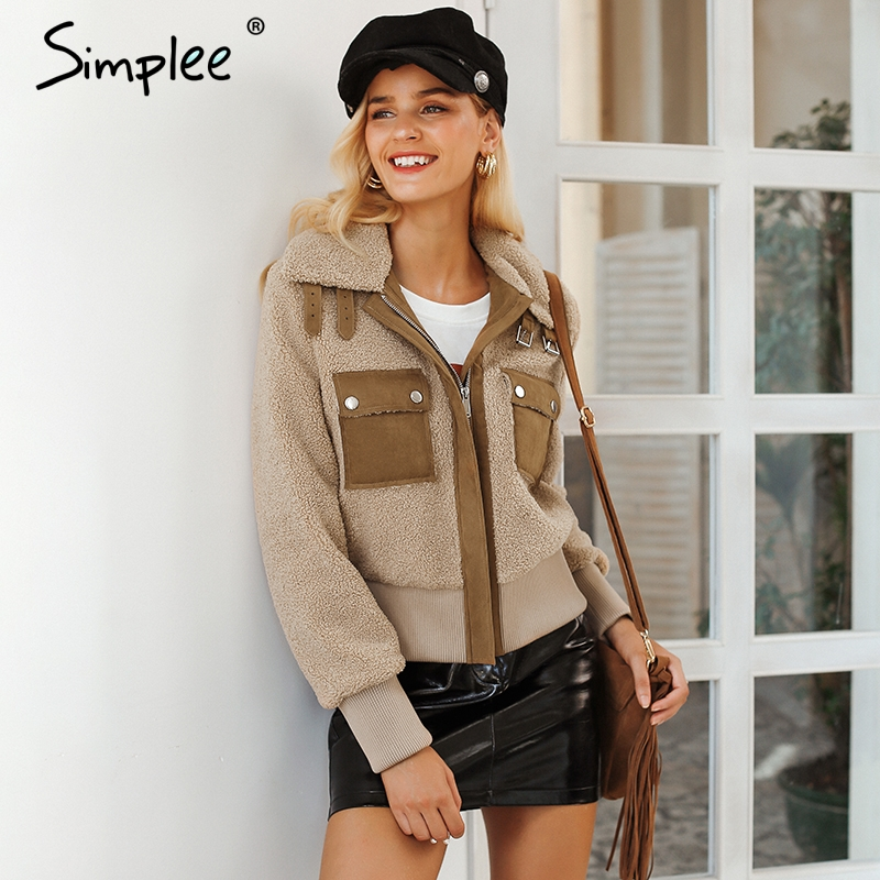 Simplee Faux lambswool jacket coat Winter khaki warm jacket Women autumn winter outerwear 2018 fashion short zipper  jacket