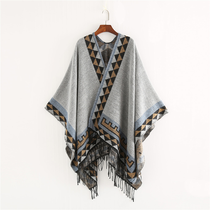 Image 3 - Mingjiebihuo New European and American style fashion geometric color imitation comfortable temperament warm poncho shawl scarf-in Women's Scarves from Apparel Accessories on AliExpress