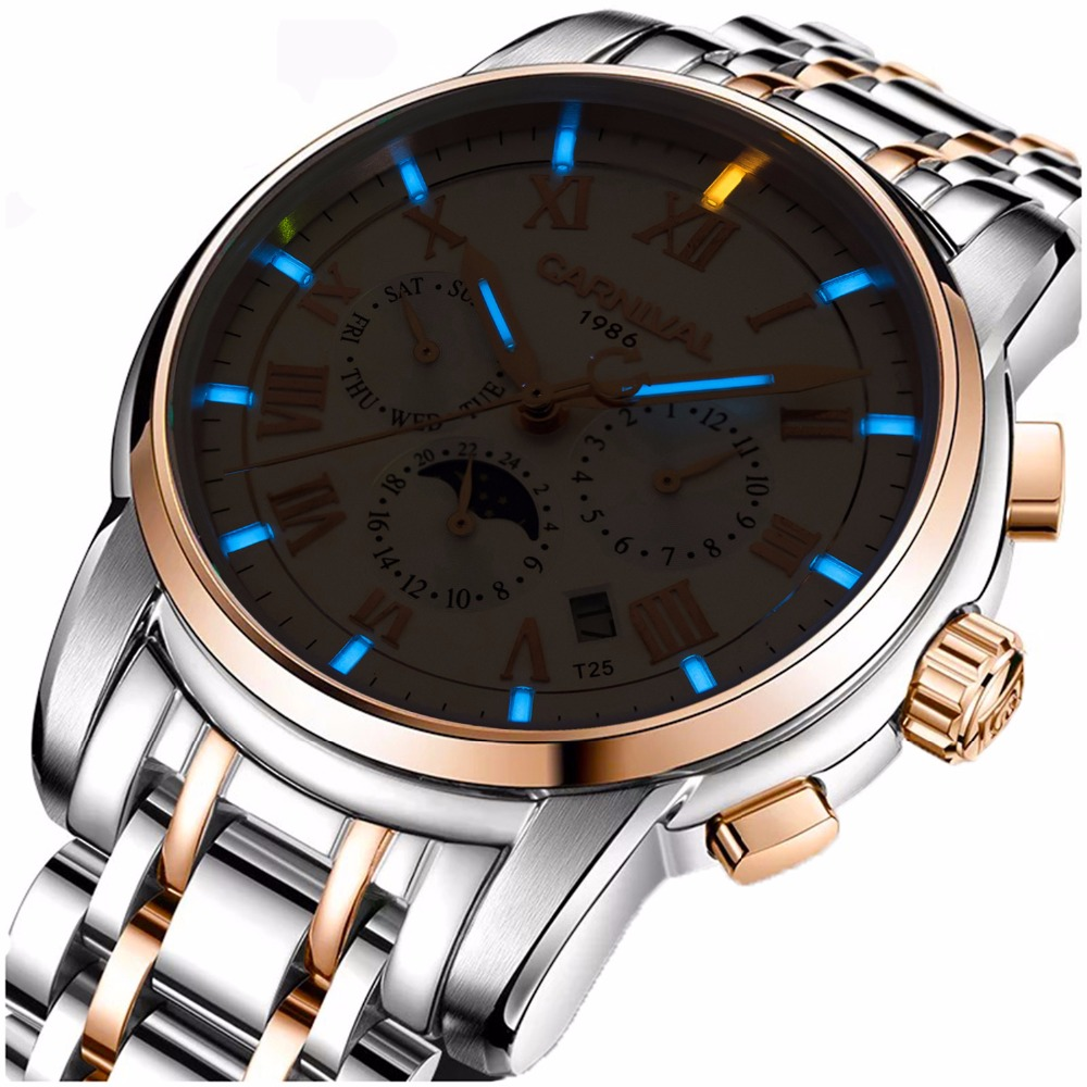 Carnival Men Tritium Light Automatic Mechanical Watch Luminous Waterproof Date 24 Hours Multifunction Stainless Steel Watches carnival green tritium watch men automatic mechanical luminous silver stainless steel waterproof date week watches