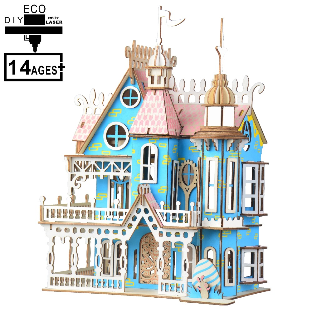 3D Wooden Mini Bell Tower House Puzzle Model DIY Kits Kids Educational Toy
