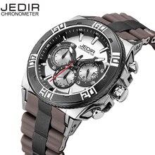 JEDIR Calendar Bracelet Clasp Silicone Band Hardlex Window Nail Shape Scale Quartz Movement Multifunction Sub Dials men's watch