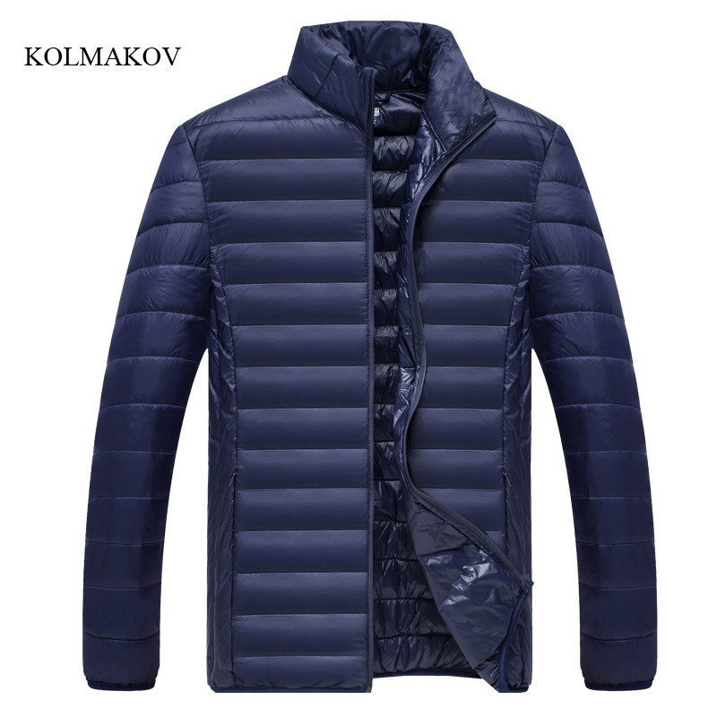 2017 new arrival winter style men thin down coats high quality fashion stand collar mens solid down jacket large size M-4XL