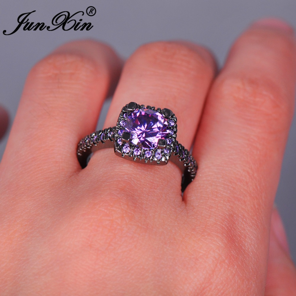 JUNXIN Elegant Female Big Purple Round Ring Fashion Black Gold ...