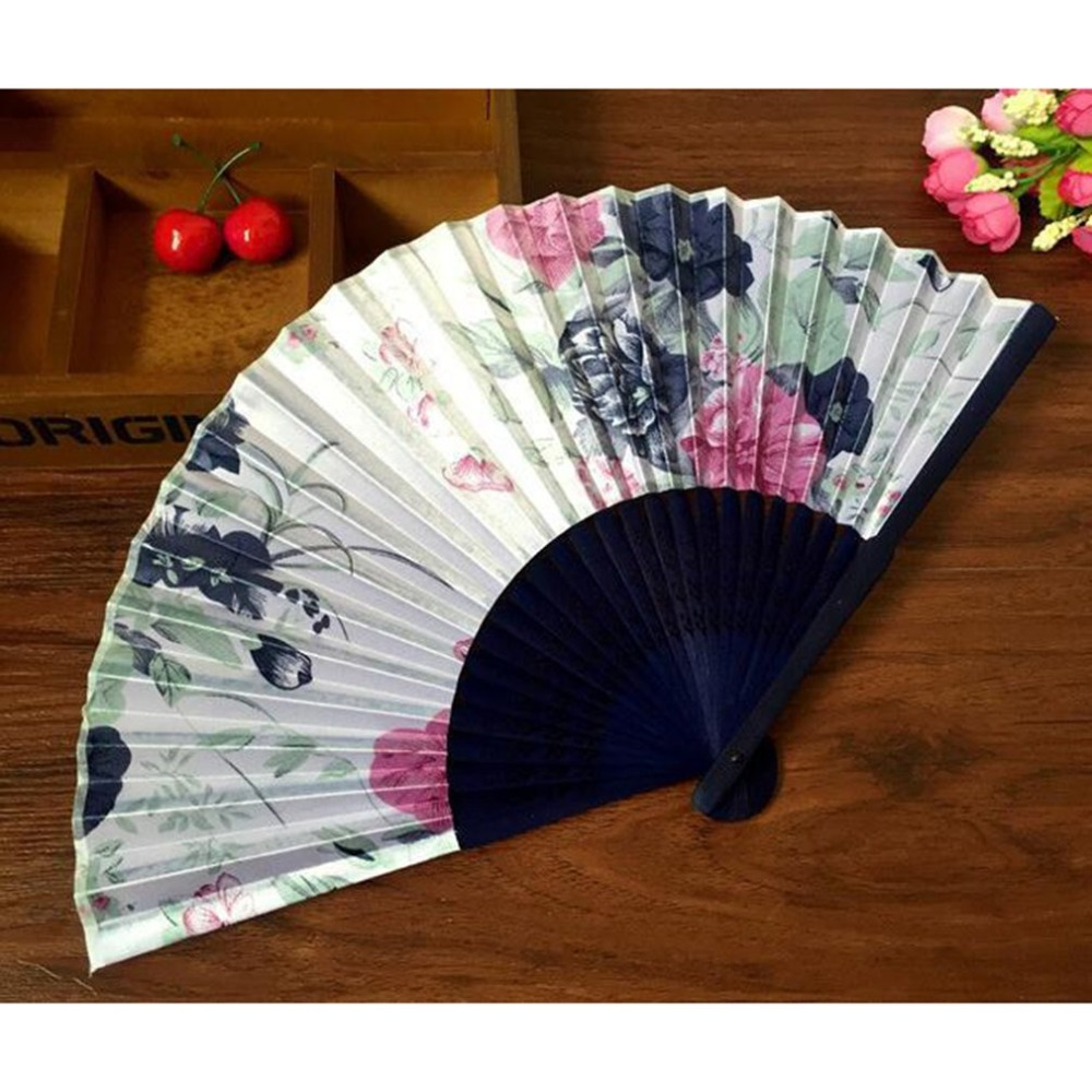 Fashionable Compact Summer Bamboo Folding Hand Held Fan Chinese Dance Party Pocket Gifts Wedding Floral Printed Fan