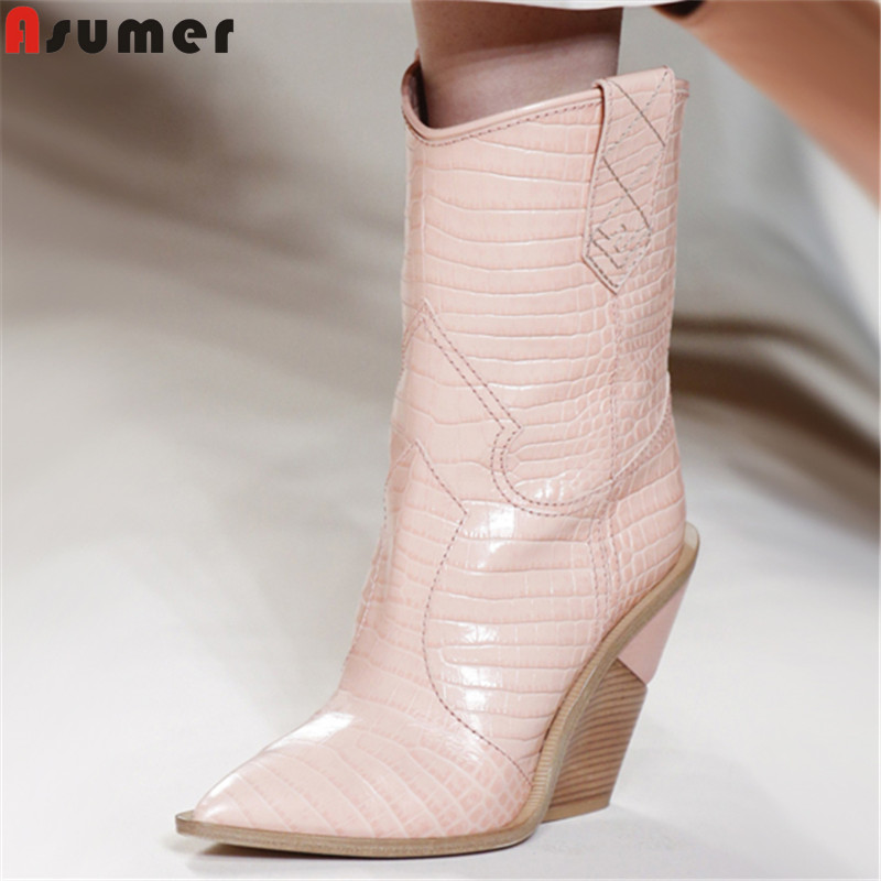 ASUMER 2019 new mid calf boots women pointed toe wedges shoes high heels western boots sheepskin inside autumn winter boots ASUMER 2019 new mid calf boots women pointed toe wedges shoes high heels western boots sheepskin inside autumn winter boots