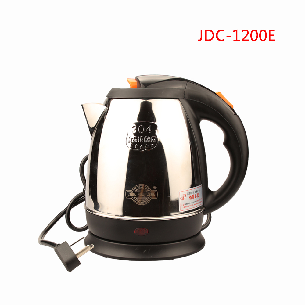 JDC-1200E 1.2L Stainless Steel Cordless Electric Kettle 220V Electric Water Kettles 1360W Power 360 Degree Rotational Base Kett ys169 360 degree rotational hanging hook black silver