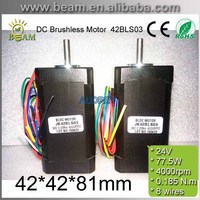 15 5A 24V 4000rpm 77 5W 0 22N M 42mm Square Brushless DC Motor With Hall
