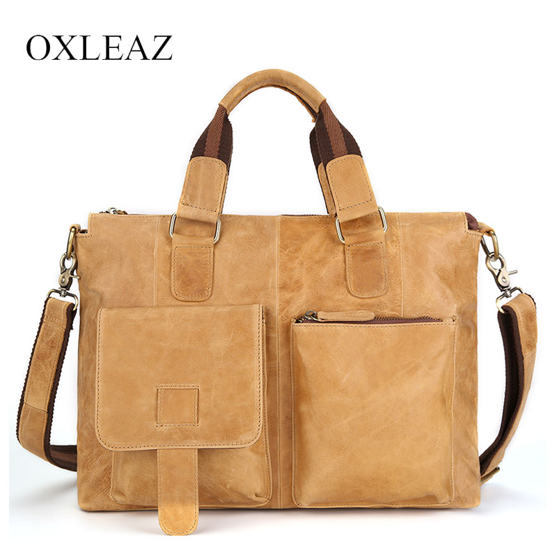 OXLEAZ Vintage Male Crazy Horse Leather Bags 15 Laptop Handbag Men Briefcases Leather Genuine Business Computer Shoulder BagsOXLEAZ Vintage Male Crazy Horse Leather Bags 15 Laptop Handbag Men Briefcases Leather Genuine Business Computer Shoulder Bags