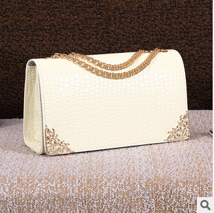 2017 New Ebay Hot Bag Chain Crocodile Patent Leather Handbag Lady Fashion Handbags Packet Women