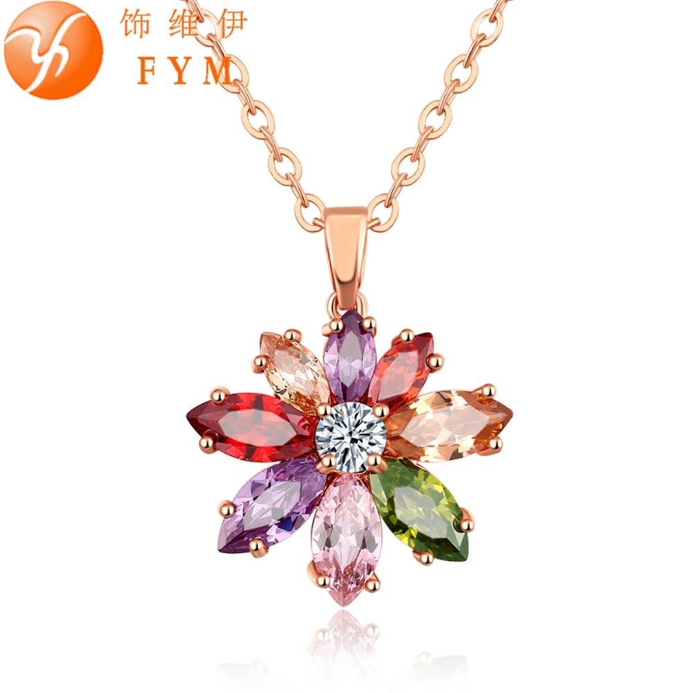 6cafb38f95fc FYM nueva moda zirconia cúbico rojo naranja verde Crystal cadena collares y colgante  oro colgante collar joyería para las Mujeres Partido
