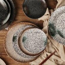 Plato de cerámica japonés con personalidad creativa, vajilla vintage y plato de viento, plato coreano para el hogar, plato de comedor, plato para carne