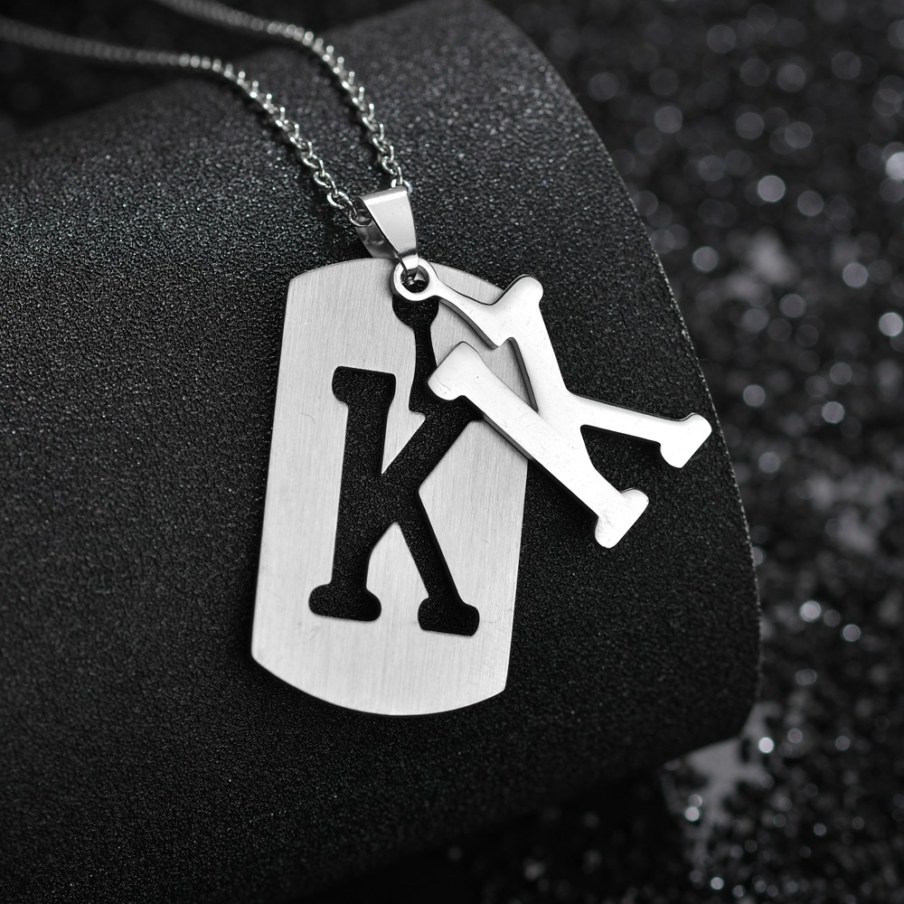Stainless steel 26 English alphabet pendant necklace men jewelry personality hollow letter pendant cross chain friendship gifts in Pendant Necklaces from Jewelry Accessories