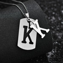 Stainless steel 26 English alphabet pendant necklace men jewelry personality hollow letter pendant cross chain friendship gifts