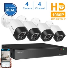 Anpviz H.265 4CH 1080P HD NVR Kit P2P 2MP Indoor Outdoor IR Night Vision Bullet IP Security Camera CCTV System