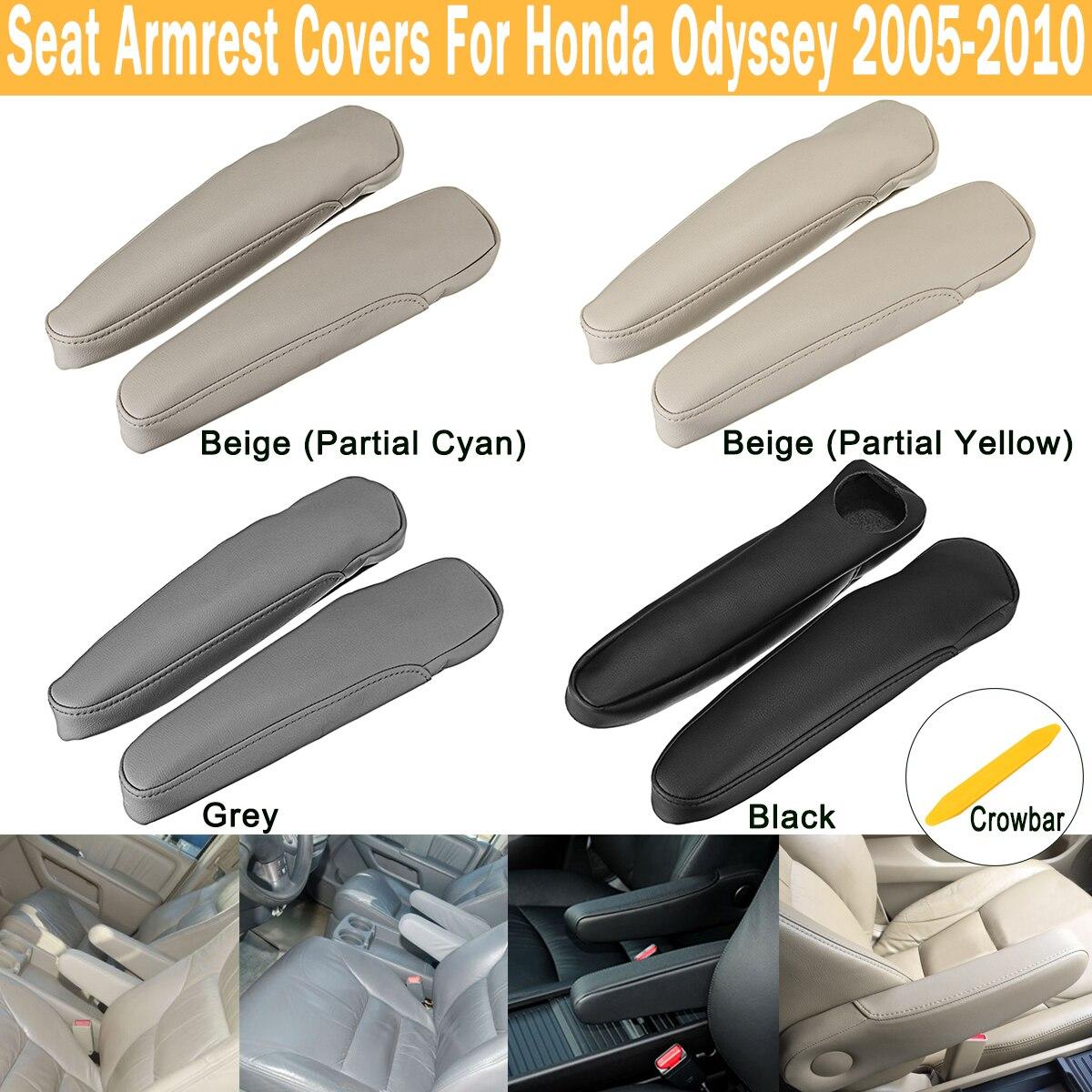 2 Pcs Braço Tampas De Assento De Couro Real Preto/Cinza/Bege para Honda Odyssey 2005-2010 L + R Tampa Alça Decoração