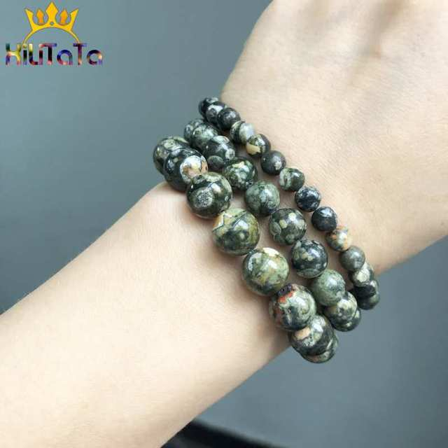 Natural Green Old KAMBABA Jades Beads Round Stone Beads For Jewelry Making DIY Bracelet Necklace Accessories 15''Strand 6/8/10mm