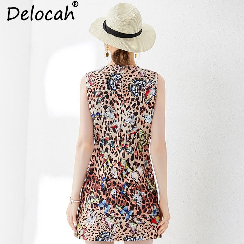Delocah New Women Summer Vest Dress Runway Fashion Sleeveless Beading Leopard Printed Elegant Vintage Ladies Party Mini Dresses in Dresses from Women 39 s Clothing
