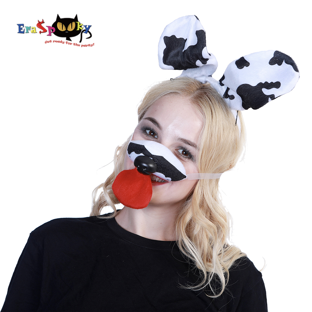 Eraspooky costume accessories Dalmatian kit halloween costumes for women spotty dog headband and mouth set lady masks costumes