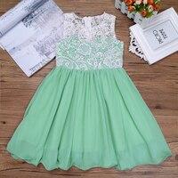 Green Summer Clothes For Kids Flower Dress Girls Chiffon Lace Sleeveless Dress Wedding Birthday Dresses Vestidos