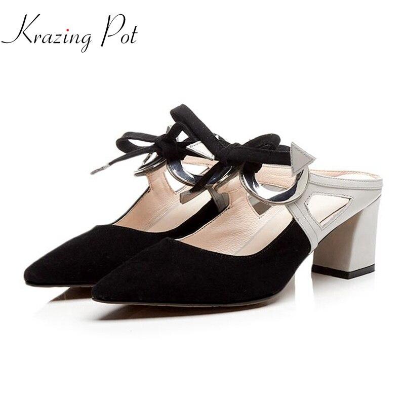 Krazing pot 2018 양 스웨이드 암소 leatehr 브랜드 신발 하이힐 여성 샌들 슬링 백 라운드 버클 bowtie 빈 다시 뮬 l02-에서하이힐부터 신발 의  그룹 1