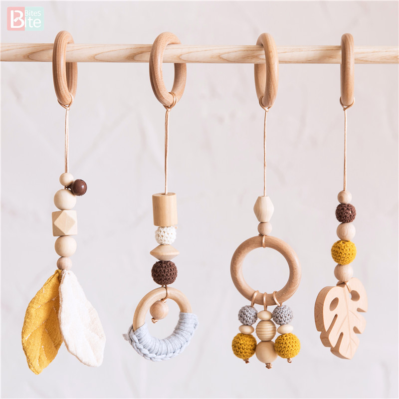 Bite Bites 4pc/set Wood Baby Toys 0 12 Months Play Gym Rattles Music Toddler Mobile Bed Bell Educational Toys For Baby Teether