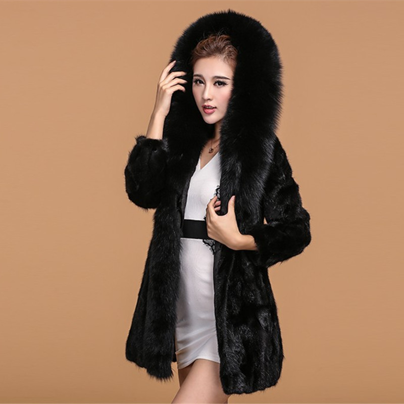 Luxury 2016 Genuine Natural Sliced Mink Fur Coat Jacket Fox Fur Hoodi Winter Coats Women Fur