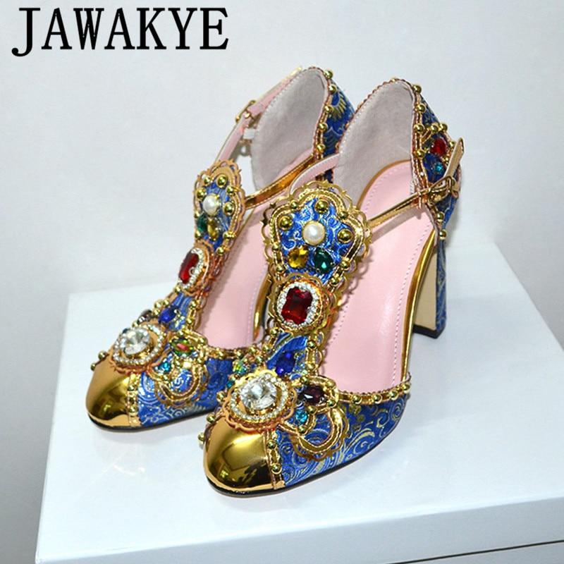 Printemps été strass chaussures femmes broderie fleur bijoux diamant talons pompes de mariée cristal métal chaussures de mariage
