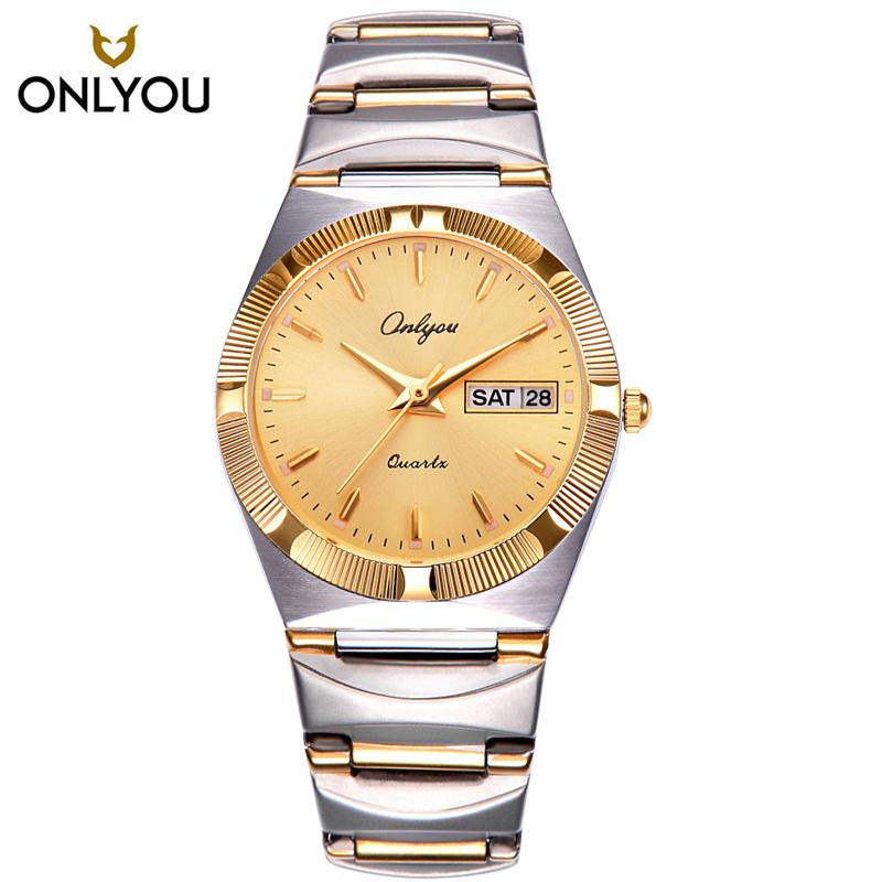 Prix pour ONLYOU Marque De Luxe Or Femmes Montre Hommes Dames Robe Bracelet À Quartz Montres Staninless Acier Montre-Bracelet Horloge relojes mujer