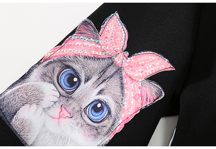 New Fashion Style Cat Print Kawaii Cartoon Shirt Dress Fashion Nova Clothing