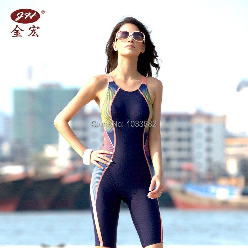 f4e1d5b42fae4 JH NEW PADDED knee length one piece women s training   racing swimwear one  piece waterproof swimsuit