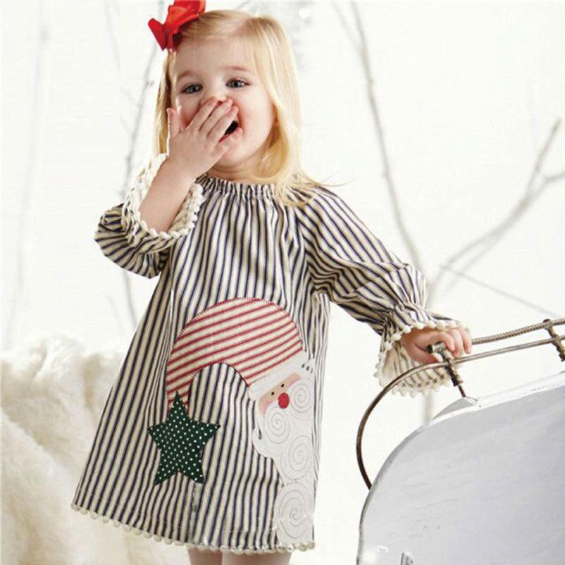 TELOTUNY Toddler Kids Baby Girls Santa Striped Princess Dress Christmas Outfits Clothes no23