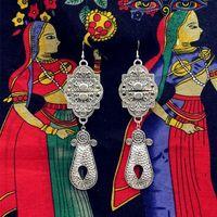 Indien Hippie Retro BOHO Big Ohrring Anhänger Handgemachte Antike Silber Übertrieben Leistung Schmuck. Iran Turkmenistan Pakistan