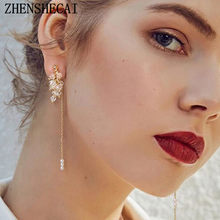 Fashion acrylic Leaf Water Drop Earrings for Women Wedding Jewelry Geometric Elegant Statement Romantic Earrings accessories(China)