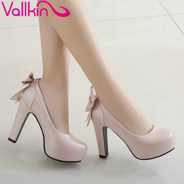 VALLKIN 2017  High Heel Women Pumps Autumn Spring Shoes Platform Bow Tie Wedding Shoes Sweet Slip on OL Work Pumps Size 34-43