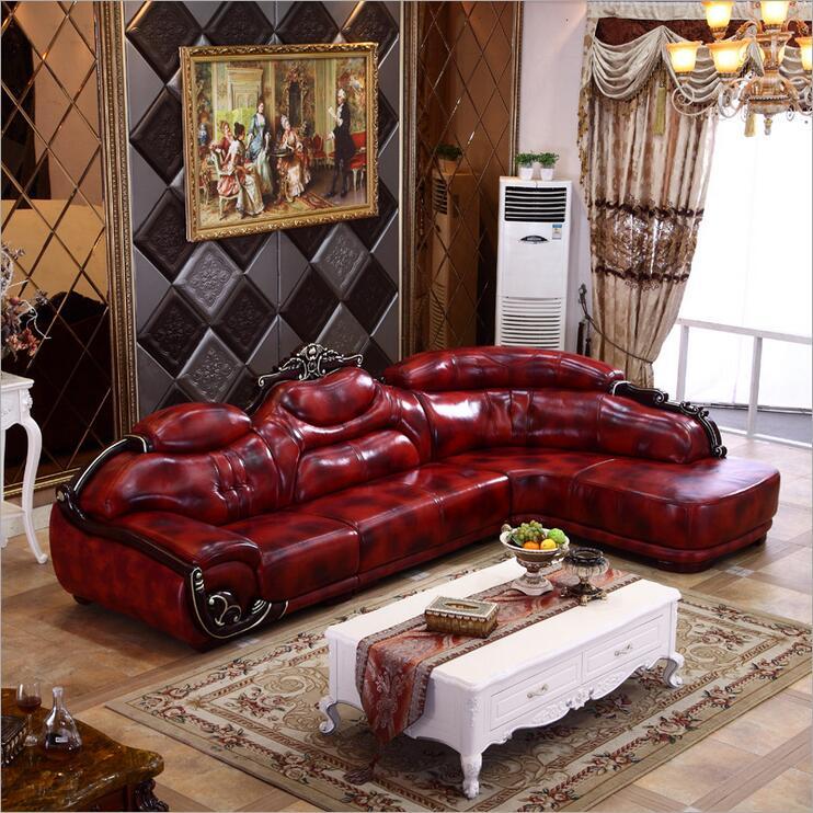 high quality European antique living room sofa furniture genuine leather set 1073
